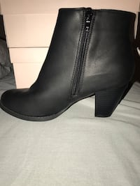 black faux leather booties (size 8)