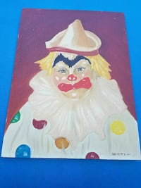 painting of clown signed