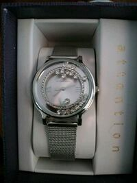 round silver-colored chronograph watch with link bracelet Albany, 12205
