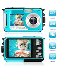 Waterproof Camera, FHD 2.7K 48MP, 16x Zoom NEW ½ RETAIL
