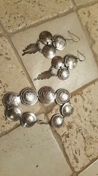 Silver Coin dangle earrings and bracelet Florence, 39073