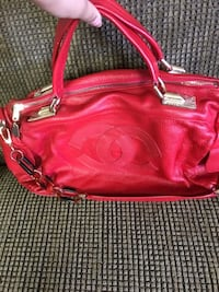 red leather 2-way bag