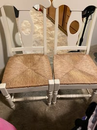 Farmhouse chairs with wicker bottoms