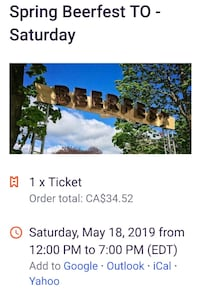 May 18 Beerfest Ticket Toronto, M6G 1X6