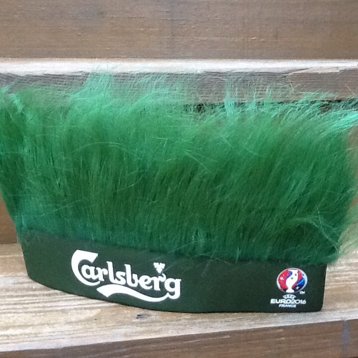 Carlsberg Beer Green Turf Head UEFA Soccer Euro 2016 France Hat - New 26832d5a-fda6-48f0-b7a6-3997c375f4cf