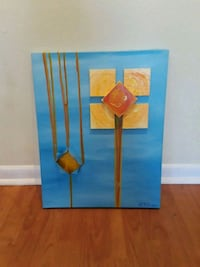 yellow, brown, and blue abstract painting