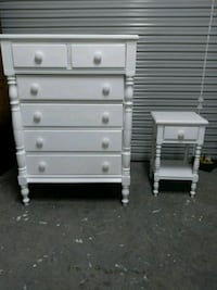 VINTAGE SOLID WOOD CHEST DRESSER AND NIGHT STAND