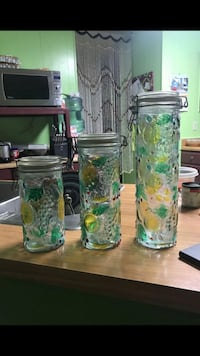 3 glass pantry containers  1356 mi