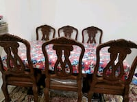 Six brown wooden framed padded chairs Ashburn, 20148