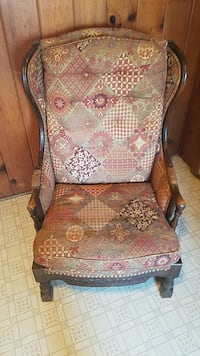 brown wooden framed brown and white floral padded armchair Bloomingdale, 49026