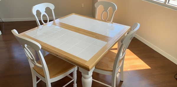 Dining Table - Expandable 4 or 6 seat white ceramic tile topped table with  6 chairs