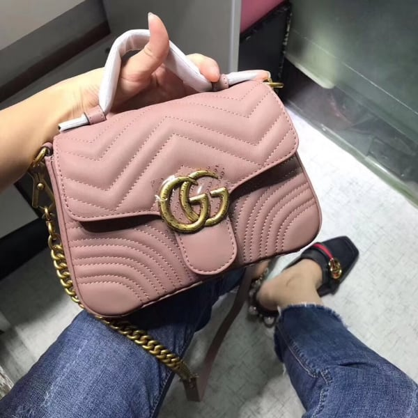 GG Marmont Mini PINK Leather Top Handle Bag, New