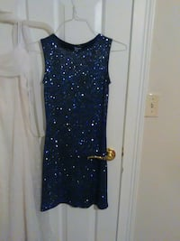 blue and black glittered tank dress null