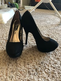 Pair of black suede platform stilettos Lubbock, 79412
