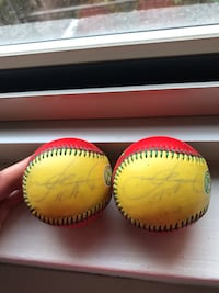 2 Yellow and Red Baseball, signed by Sammy Sosa