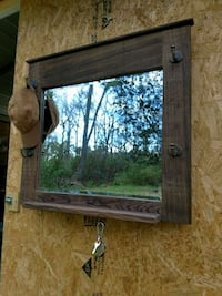 Wooden Hat Rack with Mirror, Shelf and Key Hooks