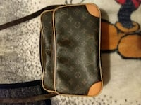 brown and black monogram canvas Louis Vuitton leather crossbody bag