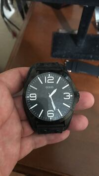 Round black analog watch with black leather strap Mission, 78572