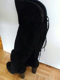 pair of black suede round-toe chunky-heeled thigh-high boots