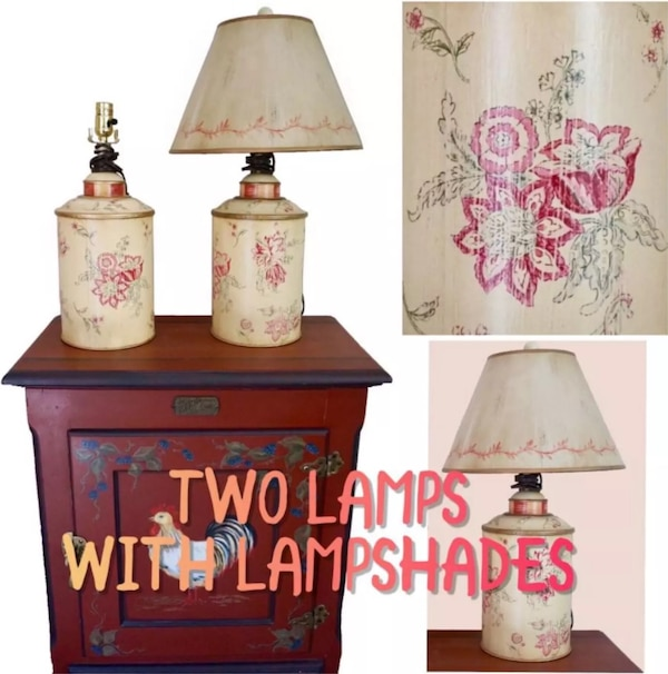 Offer 2 Floral Shabby Chic Metal Cylinder Lamp Light With Lampshades Antique French Country