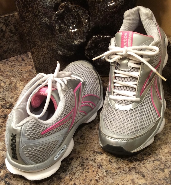 Reebok gray, pink, & white running shoes