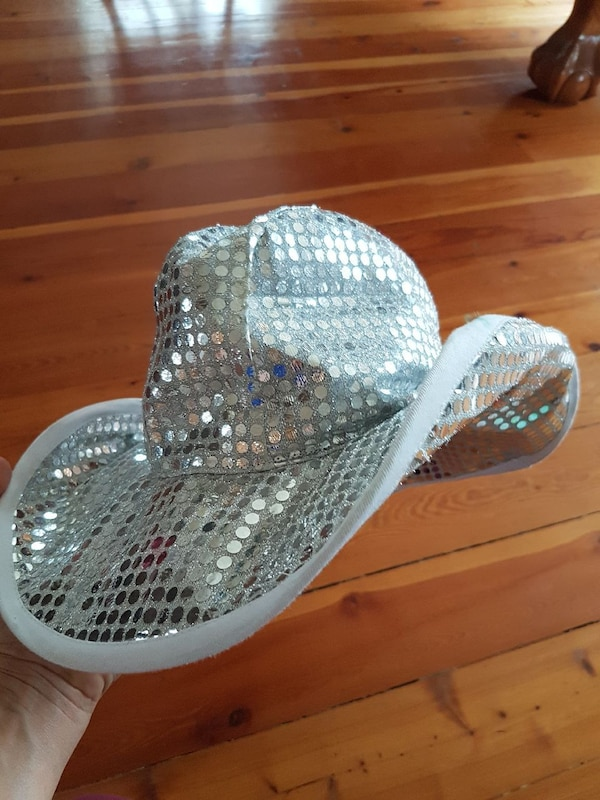 Used Silver glitter cowboy hat - Halloween costume for sale in Selkirk -  letgo 964af38364b