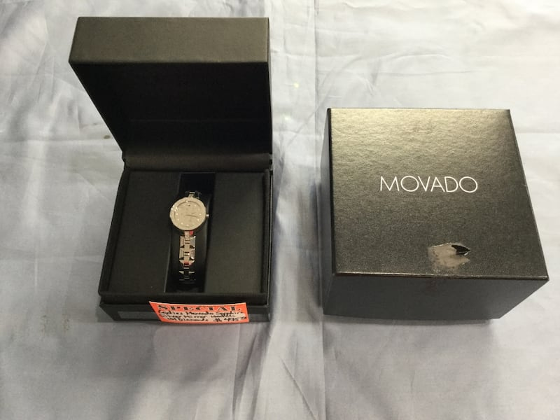 Ladies Movado Sapphire silver mirror watch with diamonds 605e765e-2327-405b-818f-e226d76871c4