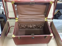 Antique brown leather suitcase & cosmetics case &50 both