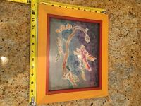 Artwork picture bird tie dyed framed St Paul