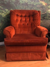 Rust Red Suede Rocking Chair