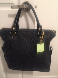 """Deux Lux Brand New Black tote Bag , woven Leather,Tag on regular price was $100 asking $50 The Width 17""""x13""""hight 502 km"""