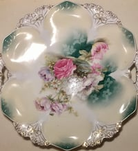 RS PRUSSIA Flowers Domed Charger Handled Cake Plate 11 inch