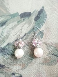 silver and white pearl hook earrings Inverness, 34453