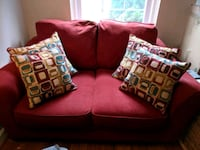 red fabric 2-seat sofa with throw pillows Arlington, 22206