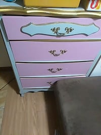 white and pink wooden 3-drawer chest West Haven, 06516