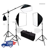 2700W 3-POINT PHOTO VIDEO CONTINUOUS SOFTBOX LIGHTING KIT W/ HAIR LIGHT (BOOM LIGHT)