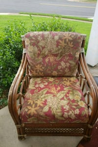 brown wooden framed brown and green floral padded armchair Sterling, 20164