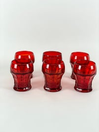 Set of 6 Vintage Honeycomb Ruby Red Whiskey Glasses