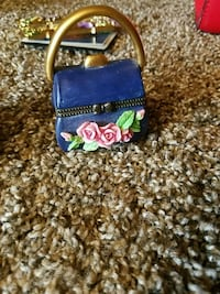 blue and green floral leather crossbody bag Frederick, 21702