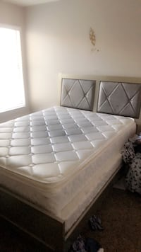 white leather tufted bed headboard Las Vegas, 89120
