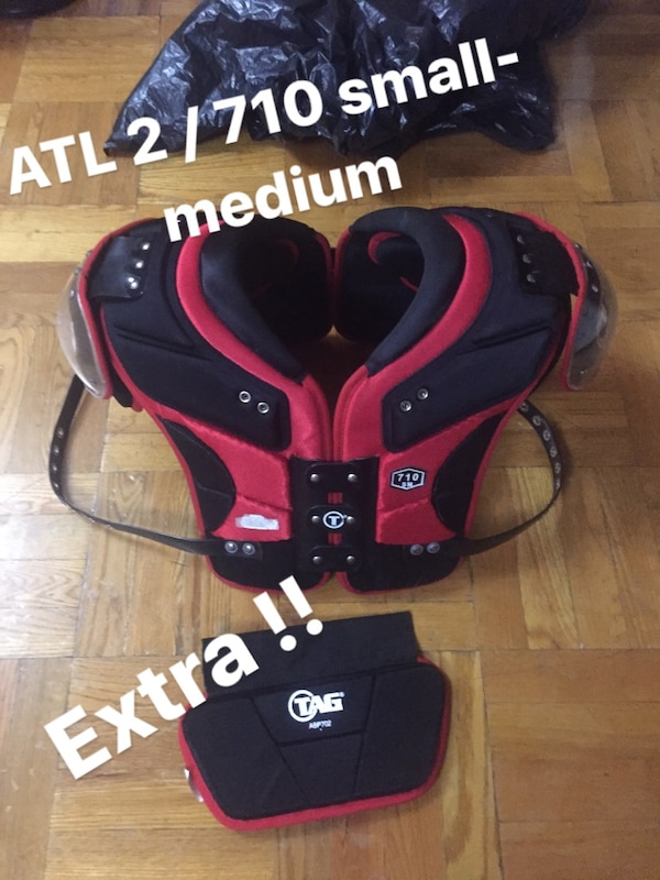 black and red TAG shoulder pads