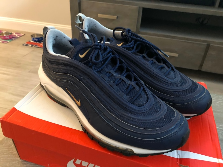 Midnight Gold Air Box Max Run Nike Whitetl 97 12 Navy Men's W Shoes hiddenSize Used Metallic Yby6f7g