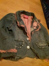 Barbie denim Jean jacket with pink lace trim Charleston, 25387