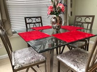 rectangular glass top table with four chairs dining set Holbrook, 11741