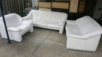 3 piece white leather couch set Hamilton