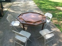 Folding poker table and 5 folding chairs