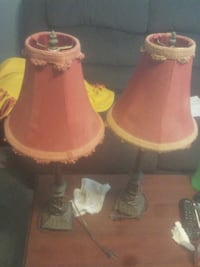 2 red home interior lamps lot $4 for both or $3each Baltimore, 21205