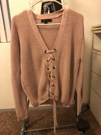 women's pink lace-up sweater Victorville, 92392