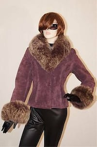 Danier Leather Black suede fox fur jacket.  Mississauga