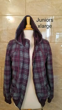 purple and white plaid zip-up hoodie Fresno, 93710